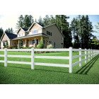 Outdoor Essentials 5 In. x 5 In. x 84 In. White Line 3-Rail Fence Vinyl Post Image 2