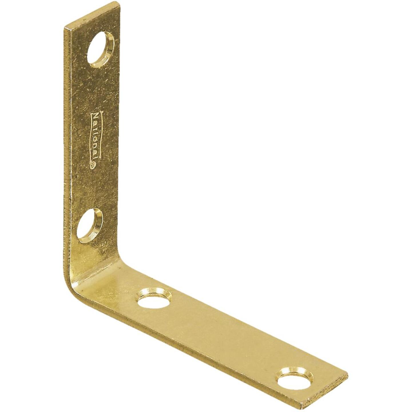 National Catalog V115 2-1/2 In. x 5/8 In. Brass Steel Corner Brace (4-Count) Image 1